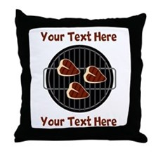 CUSTOM TEXT Meat On BBQ Grill Throw Pillow