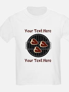 CUSTOM TEXT Meat On BBQ Grill T-Shirt