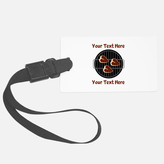 CUSTOM TEXT Meat On BBQ Grill Large Luggage Tag