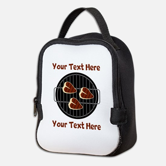 CUSTOM TEXT Meat On BBQ Grill Neoprene Lunch Bag