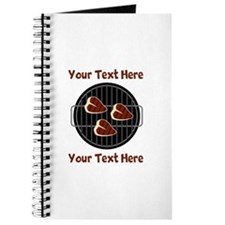 CUSTOM TEXT Meat On BBQ Grill Journal