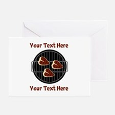 CUSTOM TEXT Meat On BBQ Greeting Cards (Pk of 10)