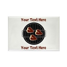 CUSTOM TEXT Meat On BBQ Grill Rectangle Magnet