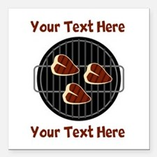 """CUSTOM TEXT Meat On BBQ Square Car Magnet 3"""" x 3"""""""