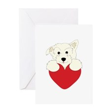Furry Dog Heart Greeting Cards