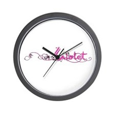 Violet Flower Name Plate Wall Clock