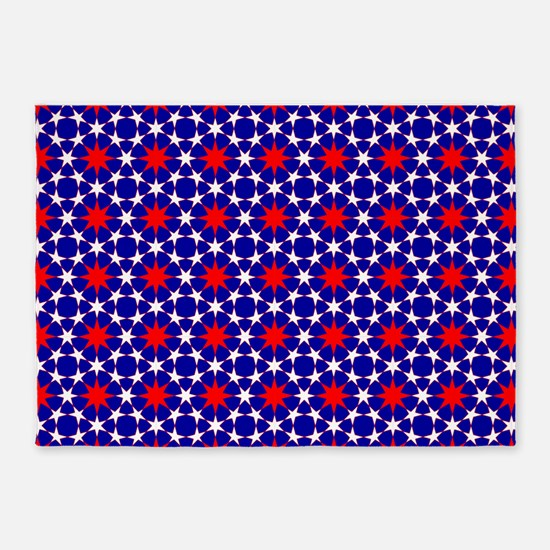 Red and White Stars 5'x7'Area Rug