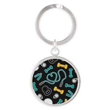 Fitness Love Pattern Aqua and Yellow Keychains