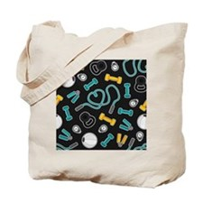 Fitness Love Pattern Aqua and Yellow Tote Bag