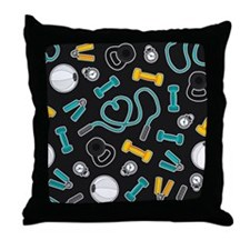 Fitness Love Pattern Aqua and Yellow Throw Pillow