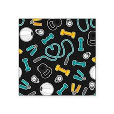 Fitness Love Pattern Aqua and Yellow Sticker