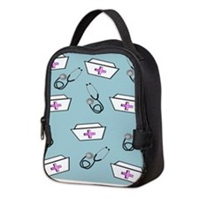 Nurse Caps Stethoscopes Neoprene Lunch Bag