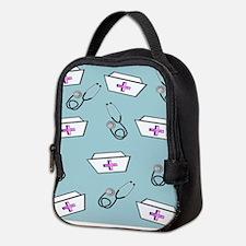 Nurse Caps Stethoscopes Neoprene Lunch Bag
