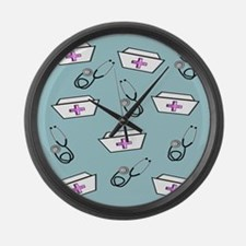 Nurse Caps Stethoscopes Large Wall Clock