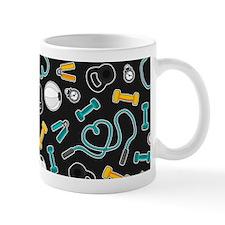 Fitness Love Pattern Aqua and Yellow Mugs