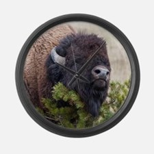 Christmas Bison Large Wall Clock