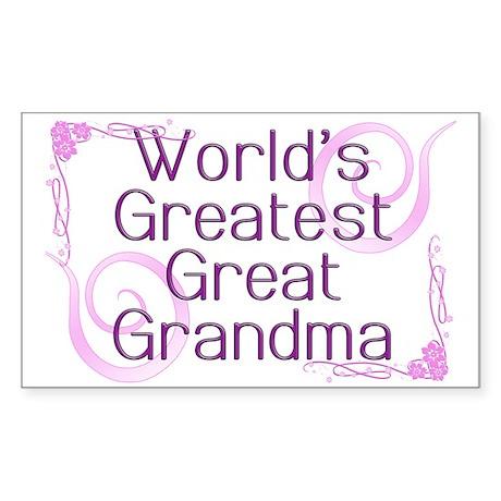 World's Greatest Great Grandma Sticker (Rectangle)