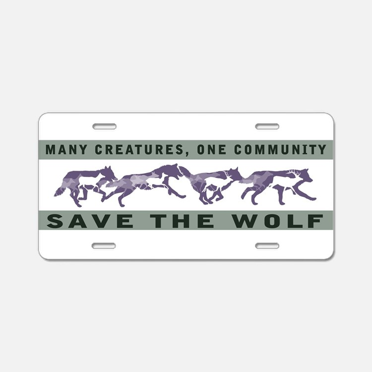 Cute Save the wolf Aluminum License Plate
