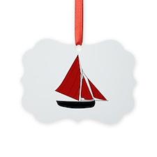 Red Sail Boat Ornament