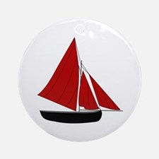 Red Sail Boat Ornament (Round)