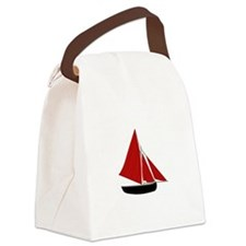 Red Sail Boat Canvas Lunch Bag