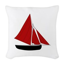 Red Sail Boat Woven Throw Pillow