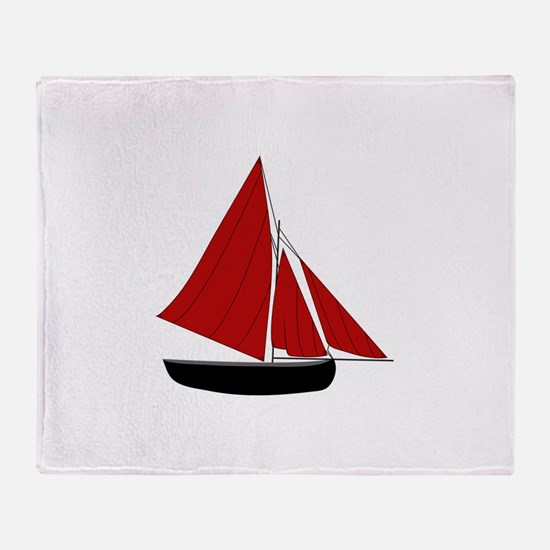 Red Sail Boat Throw Blanket