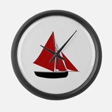 Red Sail Boat Large Wall Clock