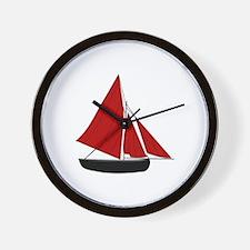 Red Sail Boat Wall Clock