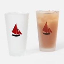 Red Sail Boat Drinking Glass