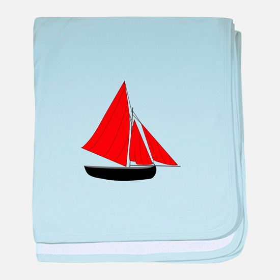 Red Sail Boat baby blanket