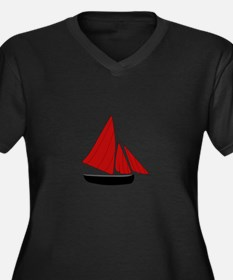 Red Sail Boat Plus Size T-Shirt