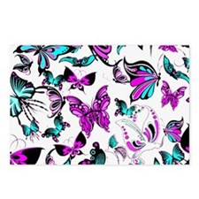Teal and purple butterflies Postcards (Package of