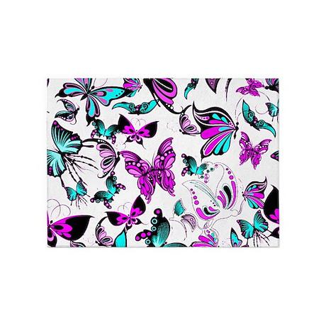 Teal And Purple Butterflies 5u0027x7u0027Area Rug