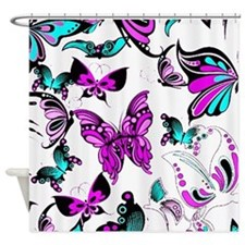 Teal and purple butterflies Shower Curtain