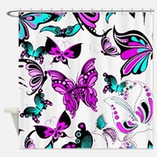 Teal Butterfly Shower Curtains