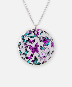 Teal and purple butterflies Necklace