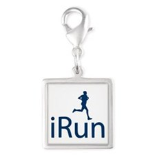 Distance Running iRun Silver Square Charm