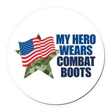 My Hero Wears Combat Boots Round Car Magnet