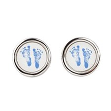 Baby Boy Footprints Round Cufflinks