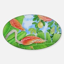 Heliconia, lilikoi and Bougainville Sticker (Oval)