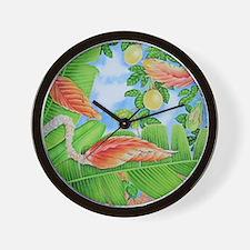 Heliconia, lilikoi and Bougainvillea Wall Clock
