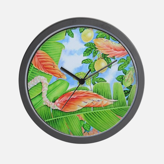 Heliconia, lilikoi and Bougainvillea Wall Clock