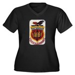 USS SARATOGA Women's Plus Size V-Neck Dark T-Shirt