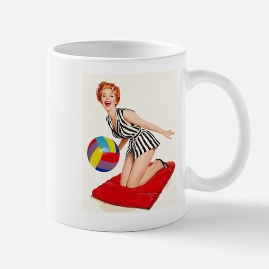 Pin Up Girl, Beachball, Vintage Poster Mugs