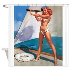 Pin Up Girl, Telescope, Vintage Shower Curtain