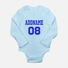 Blue Jersey Style Cust Long Sleeve Infant Bodysuit