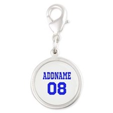 Blue Jersey Style Custom Silver Round Charm