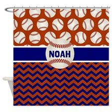 Baseball Blue Red Personalized Shower Curtain