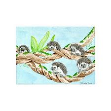 Daily Doodle 5 Climbing Hedgehogs 5'x7'Area Rug
